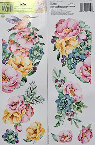 Mainstreet Wall Jumbo Stickers, Watercolor Hummingbird Floral Tween Rec