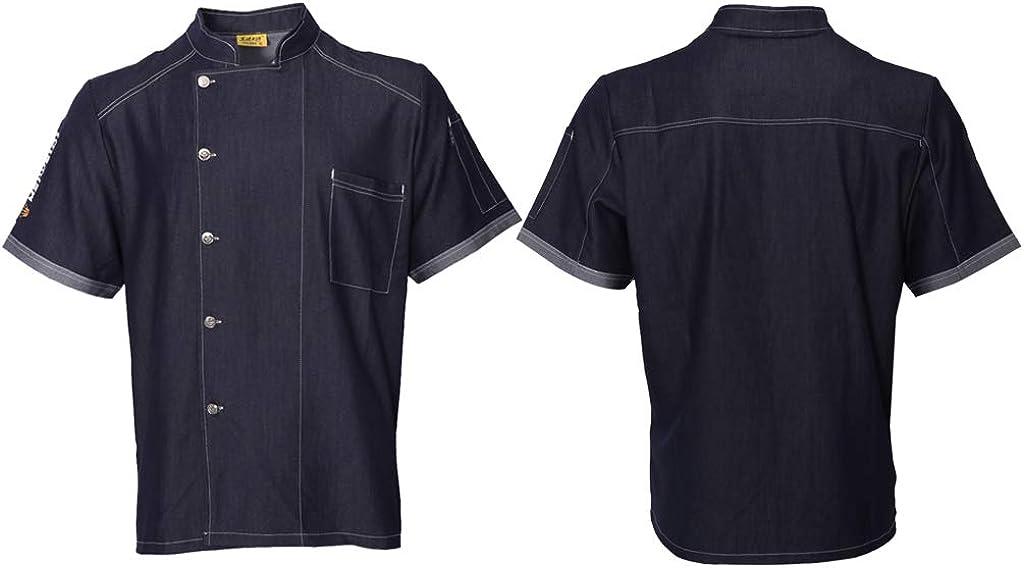 F Fityle Chaqueta de Cocinero de Mezclilla Uniforme de Chef Camiseta de Manga Corta Transpirable Secado R/ápido Anti-arrugas para Mujer Hombre