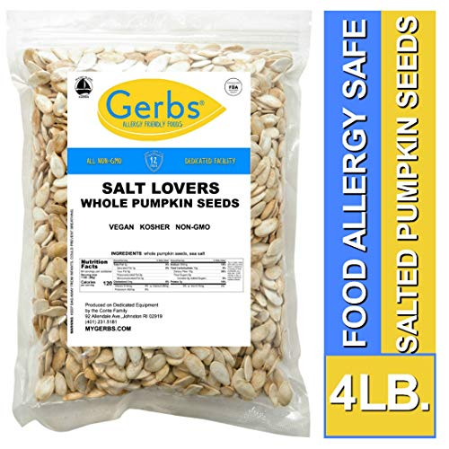 Salt Lovers Whole Pumpkin Seeds, 4 LBS by Gerbs - Top 14 Food Allergy Free & Non GMO - Vegan & Kosher - Dry Roasted In-Shell Pepitas from United States -