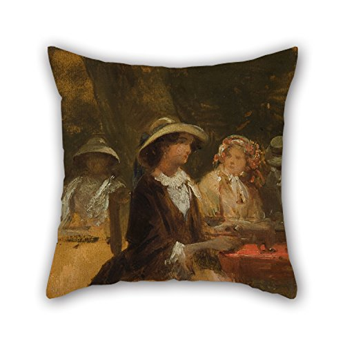 Artistdecor Throw Pillow Case 20 X 20 Inches / 50 By 50 Cm(2 Sides) Nice Choice For Home Office,club,kids Girls,boys,her,car Seat Oil Painting Josef Navrátil - In The Garden Restaurant