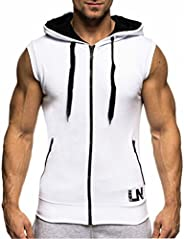 LemonGirl Men's Bodybuilding Sleeveless Hoodie Gym Tank