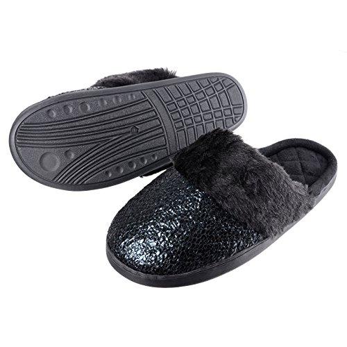 Ladies Glitz Mule Slippers Faux Fur Quilted Lining Non-slip Hard Soles Slip Ons Black hokWET8iAE