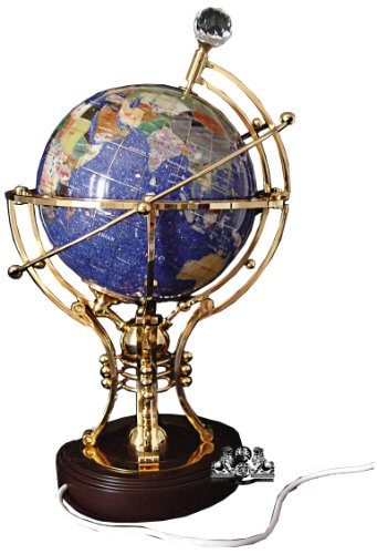 Unique Art 14-Inch Tall Illuminated Blue Crystal Ocean Table Top Gemstone World Globe with Auto -