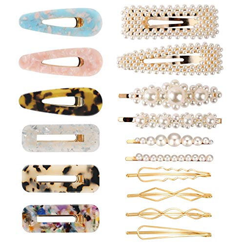 (Fashion Hair Clips Set, Funtopia 16 Pcs Artificial Pearl Hair Clips Hair Pins Acrylic Resin Hair Barrettes Decorative Gold Bobby Pins for Women and Ladies Headwear Styling Tools)