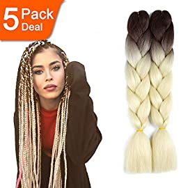 24inch Ombre Jumbo Braid Hair Extensions Synthetic High Temperature Fiber Kanekalon Braiding Hair 5pcs (82 inch, black)