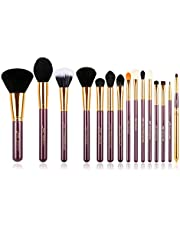 Jessup 15 Pcs Pro Makeup Brushes Makeup Brush Set Beauty Cosmetics Powder Foundation Eyeshadow Eyeliner Blending Lip Make Up Brush Tools Purple/Gold T095