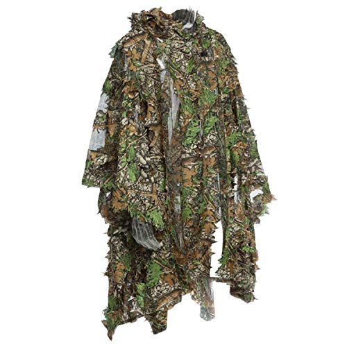 Ghillie Poncho Leafy Green - Moligh doll Camo 3D Leaf Cloak Yowie Ghillie Breathable Open Poncho Type Camouflage Birdwatching Poncho Sniper Suit