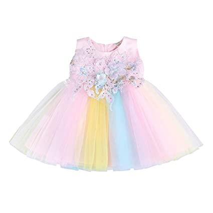 SO-buts Vestido de tutú de Verano para niña de 0 a 2 años, Vestido de Princesa arcoíris para Fiesta de cumpleaños, Disfraz Formal