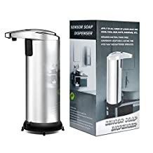 250ML Automatic Sensor Soap Dispenser, AGPtEK® Stainless Steel Touchless Liquid Dispenser with Waterproof Mount Base, Great for Bathroom, Kitchen, Laundry