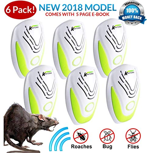 ULTRASONIC Rat Repellent 6-Pack (2018 Best Model) Repeller Plug in Insects, Mice, Rats, Spiders, Fleas, Roaches, Bed Bugs, Mosquitoes, Baby, Pet Safe & Non Toxic EBOOK ()