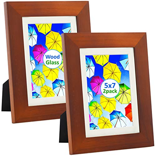 SpoiledHippo 5x7 Picture Frame Brown with Mat (2 Pack) - Solid Wood Photo Frames with Glass - Cute Small Frame for 5 by 7 Inch Photos - Wall, Table Top ()