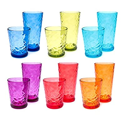 Unbreakable Hammered Tumbler, Tall and Short, Multi-Color, 12 pack