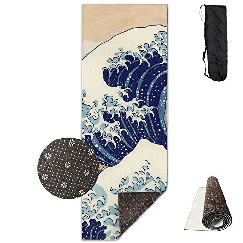 BOBIMU Non-slip Fashion-forward The Great Wave Off Kanagawa Printed Yoga Mat Aerobic Exercise Mat Pilates Mat Baby Crawling Mat With Carrying Bag Great For Man/Women/Baby ()