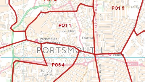 Postcode City Sector Map  Portsmouth  Double Side Lamination