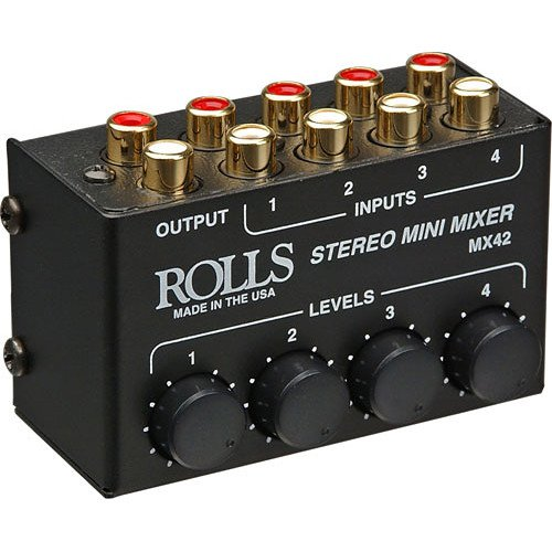 Rolls MX42 4-Channel Passive Mini Stereo Mixer with 2 RCA Male to 2 RCA Male Dual Audio Cable 3' by rolls (Image #1)