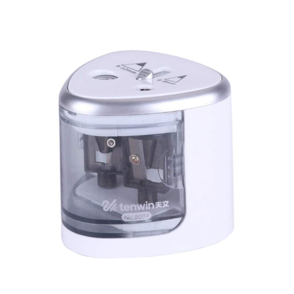 Plastic Pencil Sharpener Electric Heavy Duty Double Hole Pencil Sharpener for Kids School Classroom Office Home (Silver)