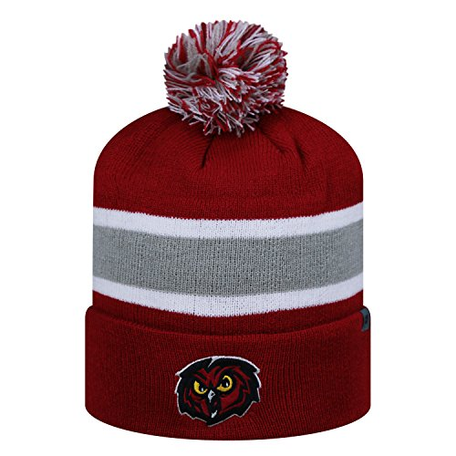 new styles dbaca c7344 ... new zealand temple owls red 2 sided whirl beanie hat with pom pom ncaa  cuffed knit