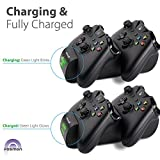 Fosmon Xbox One / One S Controller Charger, [Dual Slot] High Speed Docking / Charging Station with 2 x 800mAh Rechargeable Battery Packs