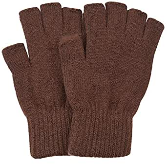 SUNNYTREE Women's Fingerless Gloves Knit Cashmere Warm Winter Brown