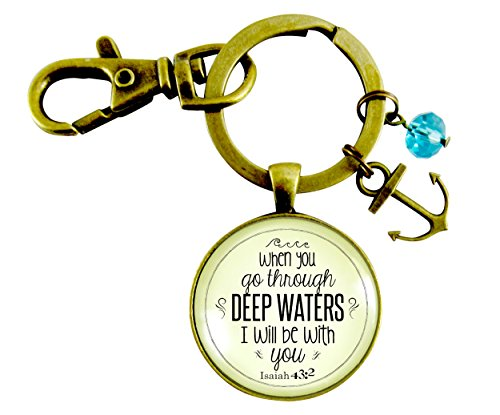 When You Go Through Deep Waters Keychain Isaiah 43:2 God's Scripture Promise Bronze Glass Vintage Style Anchor Charm