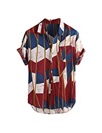 DIOMOR Men's Casual Linen Baggy Colorful Short Sleeve Button Down Shirts Fashion Comfy Lapel Tops with Pocket Blouses