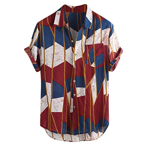 - FEDULK Men's Hawaiian Short Sleeve T-Shirt Color Block Casual Button Down Casual Loose Fit Beach Shirts(Red, Large)
