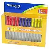 "Westcott Kids Blunt Scissors with Storage Rack, 5"", Set of 12, Assorted Colors"