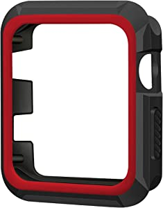iiteeology Compatible with Apple Watch 42mm, Rugged Slim Protective Case for iWatch Series 3/2/1 (Black/Red)