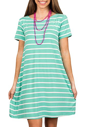Ybenlow Womens Summer Striped Short Sleeve Dresses Casual Crew Neck Loose Tunic T-Shirt Dress with Pockets