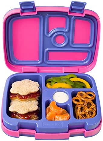 Bentgo Kids Brights – Leak-Proof, 5-Compartment Bento-Style Kids Lunch Box – Ideal Portion Sizes for Ages 3 to 7 – BPA-Free and Food-Safe Materials (Fuchsia)
