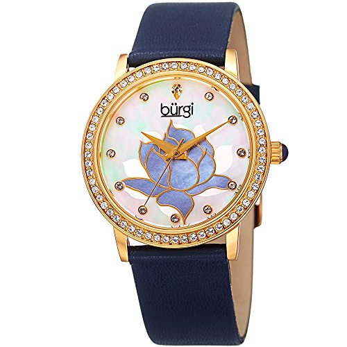 Blue Mother Of Pearl Mosaic - Burgi Swarovski Crystal Encrusted Women's Watch with Blue Genuine Leather Strap -Mother of Pearl Dial with Mosaic Lotus Flower Design and Crystal Marker Accents - BUR159BU