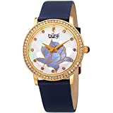 Burgi Women's Swarovski Crystal Accented Gold-Tone Bezel and Flower Design Mother-of-Pearl Dial on Blue Genuine Leather Strap Watch BUR159BU