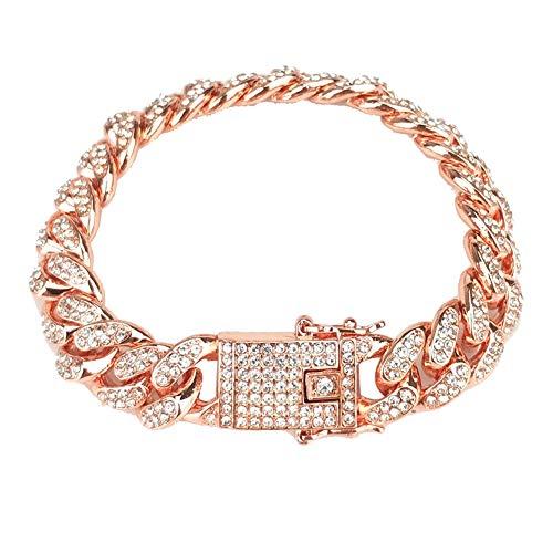 - CHoppyWAVE Multilayered Bracelet Set for Women Girls,Hip Hop Men Cuban Link Chain Bracelet Shiny Rhinestone Inlaid Bangle Jewelry - Rose Gold