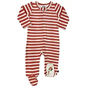 Finn + Emma Emily Winfield Martin Organic Cotton One-Piece Footie Sleeper for Baby Boy Or Girl – 3-6 Months, Red Stripes