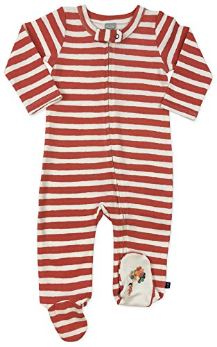 Finn + Emma Emily Winfield Martin Organic Cotton One-Piece Footie Sleeper for Baby Boy or Girl – 0-3 Months, Red Stripes ()