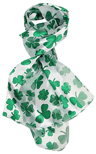 Love Lakeside-Women's St. Patrick's Day, Shamrock Clover Scarf (One, White Satin)