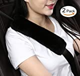 padded seat belt shoulder - Dotesy 2pcs Auto Seatbelt Shoulder Pads ,Soft Australian Sheepskin Wool Car Seat Belt Cover Backpack Strap Cushion for Adults Youth Baby Kids Car Truck SUV Airplane Travel (Black)