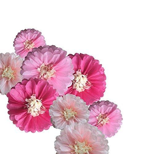Fonder Mols 9pcs Tissue Paper Chrysanth Flowers Pom Poms Flower Wedding Nursery Wall Backdrop Centerpiece Decor -