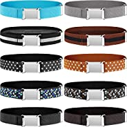 10 Pieces Kids Adjustable Buckle Belts Clasp Elastic Easy Belts with Buckle for Kids Toddlers