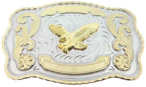 RIDE AWAY Rodeo Soaring Eagle Western Style Gold/Silver Color Large Belt Buckles (Buckle Ride Eagle)