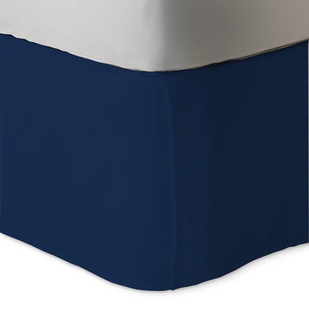 豪華なボックスベッドスカート600スレッドカウント100 % Egptianコットン12インチドロップby Kotton Cultureソリッド(アクアブルー、カリフォルニアキング) (可能なすべてのサイズと29色) クイーン ブルー 1BXBDSO126TCANblueQ B072L85JV2 ネイビーブルー クイーン