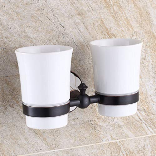 LUDSUY European-Style Villas Toiletries Tumbler Toothbrush Holder Suit Ceramic Cup All-Copper Couple Gargle Toothbrush Cup Double, Twin Cup ()