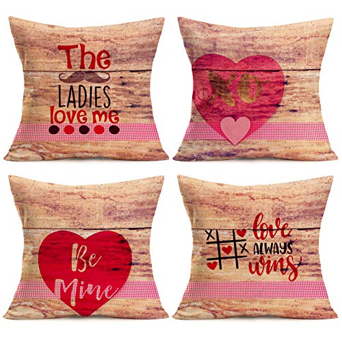 Aremazing Valentine's Day Decorative Pillow Case Cotton Linen Decor Vintage Wood with Sweet Heart Quotes Throw Pillow Cushion Cover 18''x18'' Set of 4,The Ladies Love Me,Love Always Wins,Be Mine,XOXO