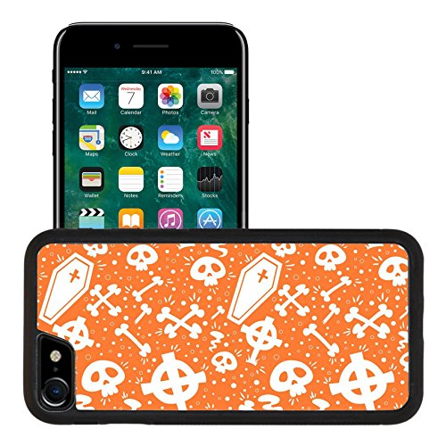 Luxlady Premium Apple iPhone 7 Aluminum Backplate Bumper Snap Case IMAGE ID: 30829505 Creepy cartoon Halloween seamless texture with tomb stones sculls and (Cartoon Tombstone)