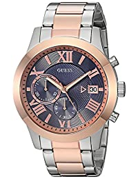 GUESS Men's Stainless Steel Two-Tone Casual Watch, Color: Rose Gold/Silver (Model: U0668G6)