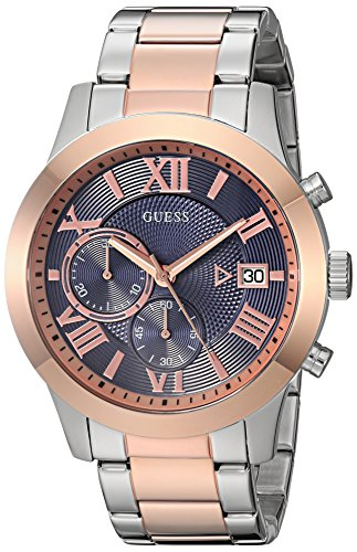GUESS Men's Stainless Steel Two-Tone Casual Watch, Color: Rose Gold/Silver (Model: U0668G6) (G Shock Rose Gold & Black Collection)