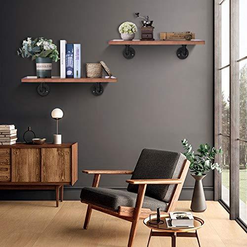 Industrial DIY Pipe Shelf Brackets,Vintage Black Iron Wall Mount Pipe Shelving Bracket, Rustic Home Pipe Shelf,6 Pack