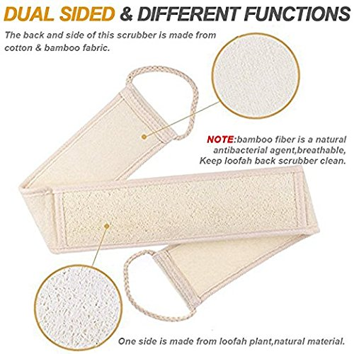 3 PCS Exfoliating Loofah Back Scrubber for Bath, Long Shower Luffa Sponge with Bar Soap Pocket, Body Sponge Scratcher with Natural Loufa for Men and Women by LERORO (Image #6)