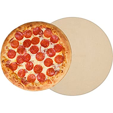 Round Pizza Stone 15 Inch 3/4  Thick - Bread Baking Stone For Indoor Oven Outdoor Grill - With Durable Foam Packaging & Pizza Recipes EBook