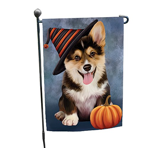 Happy Halloween Corgi Dog Wearing Witch Hat with Pumpkin Garden Flag -